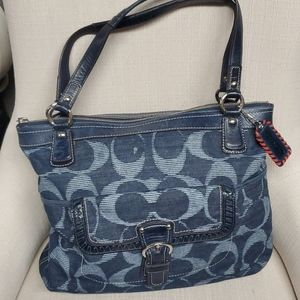 LG Coach Signature Denim Optic Glam Tote